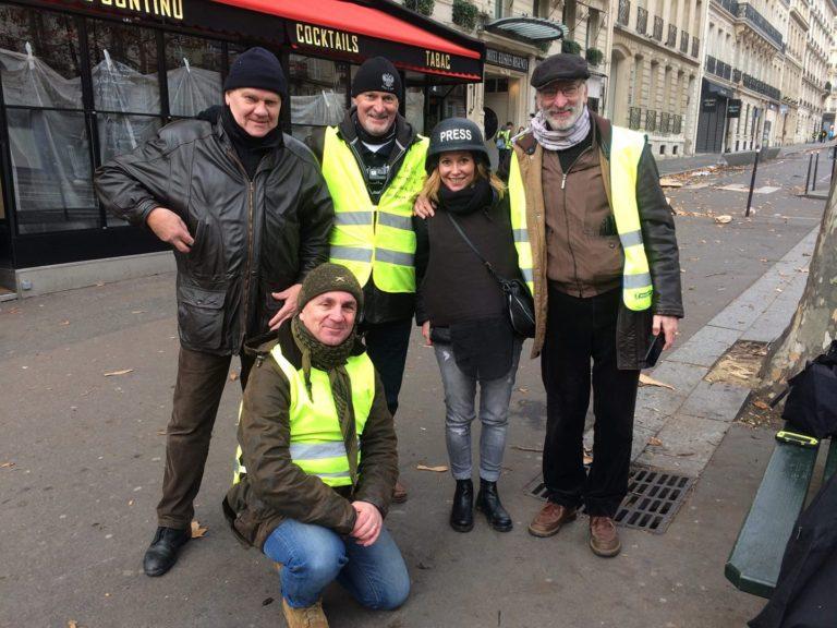 (top row, left to right) unknown man, André Chanclu, Alexandra Lusnikova (Russian newspaper Izvestiya), Emmanuel Leroy. Bottom: Vincent Perfetti