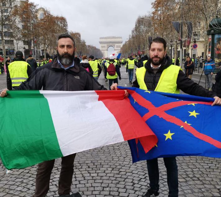 CasaPound's Davide Di Stefano and Luca Marsella at the protests in Paris